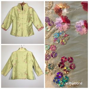 Vintage 80's Asian Cheongsam Fitted Jacket Toggles